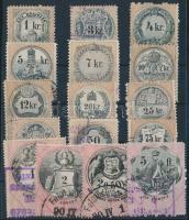 1880 16 db klf magyar okmánybélyeg