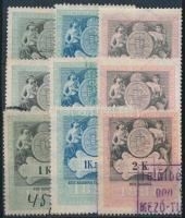 1898 9 db Koronás értékű magyar okmánybélyeg