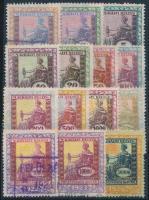 1922-1924 14 db klf magyar okmánybélyeg, két érték 10.000 korona értékű 1922 és 1923 évszámmal