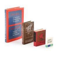 3 db minikönyv + 1 kis könyv: Pászorkonyha / pászoréztelek (foltos lapokkal), Felszabadult Hazánk, Alapjogaim az Európai Unióban, Lenin: Az ifjúsági szövetségek feladatai.