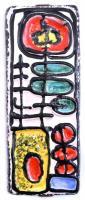 Iparművész retro kerámia fali dísz. Mázas kerámia, kézzel festett, jelzés nélkül, hibátlan 36,5x14 cm