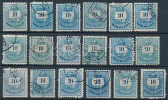 1874 18 db Színesszámú 10kr, színárnyalatok, lemezhibák, méretváltozatok stb.