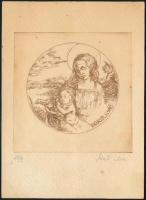 László Anna: Dürer 1498. Rézkarc, papír, számozott (25/9), lapon apró foltokkal, 9,5×9,5 cm
