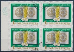 1972 Keszthelyi Georgikon ívszéli négyestömb, a 2. bélyegen a MAGYAR Y-jában festékpont