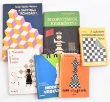 6 db sakk-könyv: Megnyitások kézikönyve, A sakkozó gondolkodásának titkai, 600 végjáték, Támadás a király ellen, Modern védelem, A sakkvilág trónusáért. Kötetenként vegyes kötésben, többnyire jó állapotban