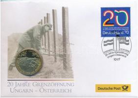 Németország 2009. 20 JAHRE GRENZÖFFNUNG UNGARN - ÖSTERREICH Cu-Zn emlékérem, felbélyegzett német nyelvű borítékban T:PP