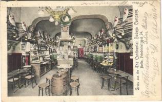 1910 Berlin, Gruss aus der The Continental Bodega Company / restaurant interior. Friedrichstrasse 94. (EB)