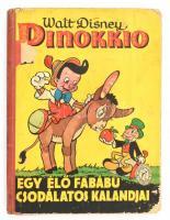 Walt Disney: Pinokkio. Egy élő fabábú csodálatos kalandjai. Pálföldy Margit fordítása. Bp, én., Palladis Rt. Karcos, kopott, foltos kartonált papírkötésben. Foltos, kijáró lapokkal.