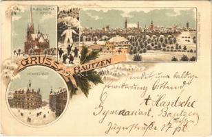 Bautzen, Maria Martha Kirche, Gewandhaus / church, winter. H. Metz Art Nouveau, floral, litho (EK)
