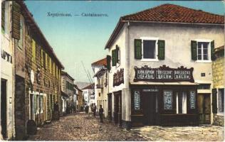 Herceg Novi, Castelnuovo; Friscur Brijacki Salon / Holicsky barber shop, street