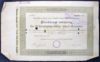 Budapest 1896. Kaposvár-Fonyódi Helyi Érdekű Vasút Részvénytársaság elsőbbségi részvénye 100K-ról, szárazpecséttel, szelvényekkel, felülbélyegzéssel, lyukasztással érvénytelenítve T:II-