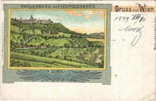 1899 (Vorläufer) Wien, Vienna, Bécs XIX. Leopoldsberg, Kahlenberger. Moritz Brock Art Nouveau, litho (tear)