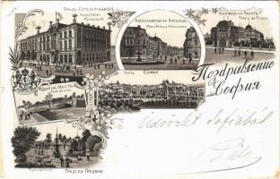 1900 Sofia, Grand Hotel Panachoff, Place Prince Alexandre, Pont de Lionn, Park de Ville, Palais de Prince / hotel, bridge, palace, square, park. Art Nouveau, floral, litho (EK)