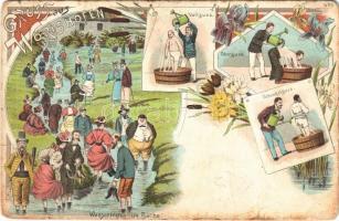 Bad Wörishofen, Gruss aus... Vollguss, Oberguss, Schenkelguss, Wassertreten im Bache / spa treatments. Art Nouveau, floral, litho (fa)