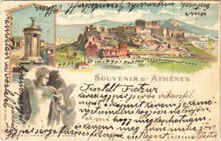1901 Athína, Athens, Athenes; Acropole, Monument de Lysicrate, Hermes de Praxitele / Acropolis, Monument of Lysicrates. Art Nouveau, litho (tear)
