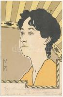 1900 Art Nouveau lady. Verlag E. Arenz No. 521. litho s: H. Meunier