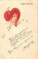 Coeur Dame / Art Nouveau lady. E.S.D.B. litho s: Carl Józsa