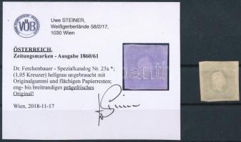 1861 Hírlapbélyeg világosszürke, eredeti gumival, Certificate: Steiner