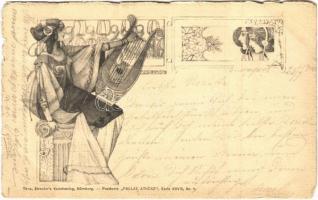 1900 Art Nouveau. Theo. Stroefers Kunstverlag, Nürnberg. Postkarte Pallas Athene Serie XXV B, Nr. 1.