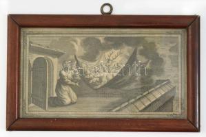 Noé álma. Rézmetszet, XVIII. század. Jelzés nélkül, üvegezett keretben 20x11 cm