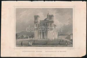 cca 1850 Ludwig Rohbock (1820-1883): Székesegyház Vácon, acélmetszet, jelzett a metszeten / Steel engraving, 14×18,5 cm