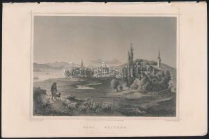 cca 1850 Ludwig Rohbock (1820-1883): Vác látképe, acélmetszet, jelzett a metszeten / Steel engraving, 14×18,5 cm