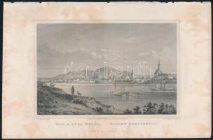 cca 1850 Ludwig Rohbock (1820-1883): Vác látképe a Duna felöl, acélmetszet, jelzett a metszeten. Foltos / Steel engraving, 14×18,5 cm