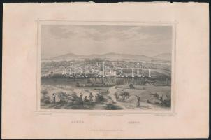 cca 1850 Ludwig Rohbock (1820-1883): Aszód, acélmetszet, jelzett a metszeten. Foltos / Steel engraving, 14×18,5 cm