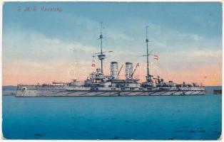 1915 SMS Radetzky az Osztrák-Magyar Haditengerészet Radetzky-osztályú pre-dreadnought csatahajója / K.u.K. Kriegsmarine / SMS Radetzky Austro-Hungarian Navy Radetzky-class pre-dreadnought battleship. G.M. Padovan, C. Fano Pola 1914/15. 54. + K.u.K. Festungsartillerieregiment Graf Colloredo-Mels 2. Feldkompagnie (ázott / wet damage)