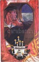 1915 Weihnachten zur See. Offizielle Weihnachtskarte des Österreichische Flottenvereines zu Gunsten des Roten Kreuzes, des kriegsfürsorgeamtes und des Kriegshilfsbüros. K.u.K. Kriegsmarine mariner art postcard s: F. Kuderna