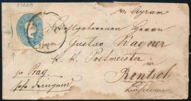 ~1862 Látványos képbe fogazott 15kr levélen AGRAM Csehországba küldve