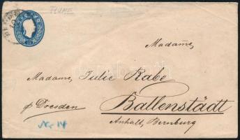 ~1862 15kr díjjegyes levél külföldre küldve FIUME Ritka!!