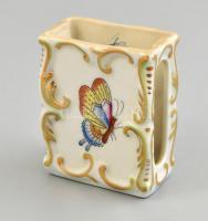 Herendi Viktória mintás, kézzel festett porcelán gyufatartó, hibátlan állapotban, jelzett, 5x6x3cm