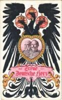 Das Treue Deutsche Herz. Viribus Unitis / Franz Joseph and Wilhelm II. Art Nouveau s: Georg Berger (fl)