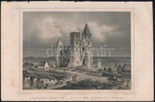 Ludwig Rohbock (1820-1883): A zsámbéki templom / Ruine der Kirche zu Zsambek, acélmetszet, papír, , 15×18,5 cm