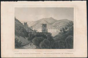 cca 1860 Ludwig Rohbock (1820-1883): Visegrád, Salamon tornya acélmetszet, 13x17 cm