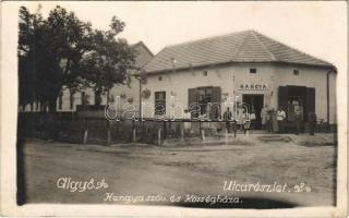 1940 Algyő, utca, Hangya szövetkezet üzlete, községháza. photo (fl)