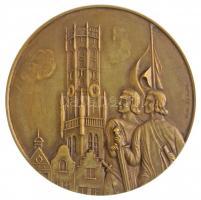 Belgium DN Brugge városa Br emlékérem peremen FONSON beütéssel. Szign.: V. D. Velde (59,5mm) T:1- / Belgium ND City of Brugge Br commemorative medallion with FONSON mark on the edge. Sign.: V. D. Velde (59,5mm) C:AU