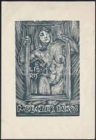 Trojan Marian József: Melzer János ex libris, akt, fametszet, papír, 9×6 cm