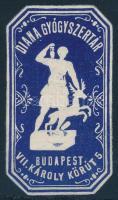 1908 Diana Gyógyszertár- Budapest dombornyomású reklám bélyeg,ritka!