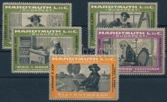 1910 HARDTMUTH L. és C. I. sor koh-i-noor írószer, 5 db klf levélzáró