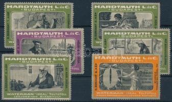 1910 HARDTMUTH L. és C. II. sor Waterman töltőtollak, levélzáró sor