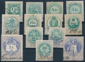 1868-1891 13 db klf okirati illetékbélyeg