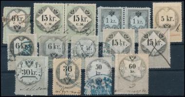 1854-1868 közötti időszakból 15 klf Osztrák illetékbélyegek, Magyarországon
