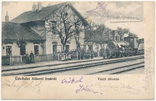 1906 Albertirsa, Alberti Irsa; vasútállomás, gőzmozdony (fa)