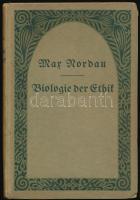Max Nordau: Biologie der Ethik. Leipzig, 1916, B. Elischer. Gerő Ödön (1863-1939) író, műkritikus könyvtárából, névbejegyzésével a címlapon. Első kiadás. Kiadói kartonált papírkötésben, borítón apró sérüléssel. /  Paper binding, with very small damage on the cover, first edition. From the library of writer, critic Ödön Gerő (1863-1939).