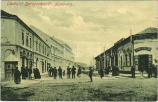 Beregszász, Beregovo, Berehove; Árpád utca, Taub üzlete, gyógyszertár. W.L. 6055. / street, pharmacy, shop (kis szakadás / small tear)