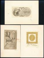 6 db rézkarc, jelzett (Nagy Árpád Dániel, Dániel Viktor, Török János), 5,5×9 cm