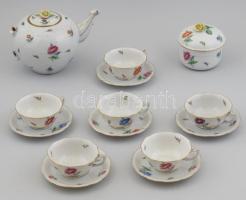 Herendi régi, Etonhoz hasonló virág mintás teás készlet. Kézzel festett, jelzett, a teáskanna sérült, hiányos