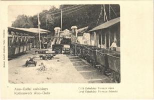 Alsógalla (Tatabánya), szénbánya, Gróf Esterházy Ferenc akna, csillék, bányász. Nobel Adolf kiadása